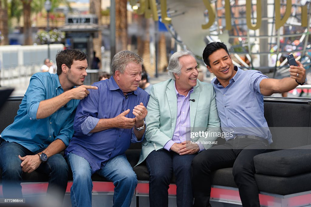 Jeff Dye William Shatner Henry Winkler and Mario Lopez visit 'Extra' at Universal Studios Hollywood on July 18 2016 in Universal City California