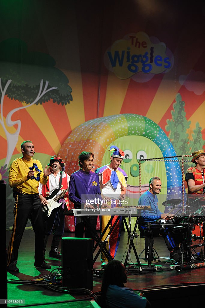 Jeff Fatt, Anthony Field and Greg Page of The Wiggles perform at Fillmore Miami Beach on August 3, 2012 in Miami Beach, Florida.