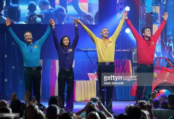 Jeff Fatt Anthony Field Greg Page and Murray Cook of The Wiggles perform on stage during The Wiggles Celebration Tour at Sydney Entertainment Centre...