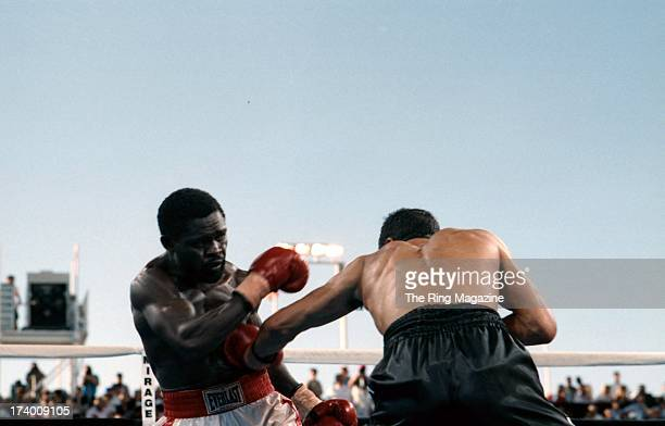 Jeff Fenech lands a punch against Azumah Nelson during the fight at the Mirage Hotel Casino in Las Vegas Nevada The WBC super featherweight title...