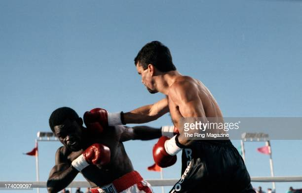 Jeff Fenech lands a punch against Azumah Nelson during the fight agianst Jeff Fenech at the Mirage Hotel Casino in Las Vegas Nevada The WBC super...