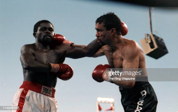 Jeff Fenech lands a right punch against Azumah Nelson during the fight at the Mirage Hotel Casino in Las Vegas Nevada The WBC super featherweight...