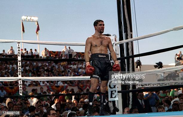 Jeff Fenech stands in the ring during the fight against Azumah Nelson at the Mirage Hotel Casino in Las Vegas Nevada The WBC super featherweight...