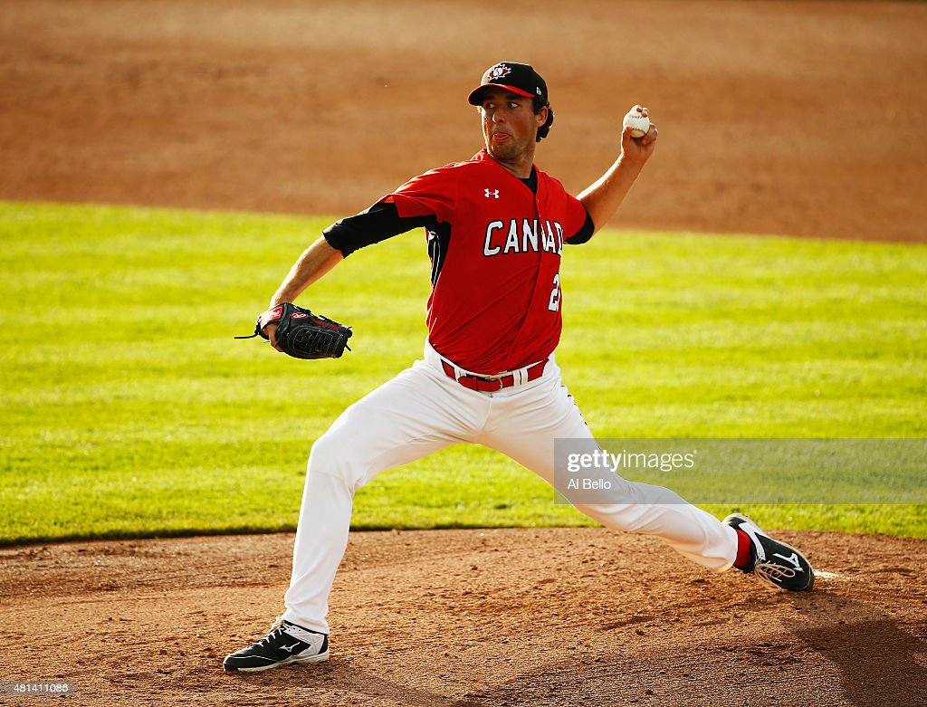 Jeff Francis of Canada pitches against the USA during their Gold Medal match at the Pan Am Games on July 19 2015 in Toronto Canada