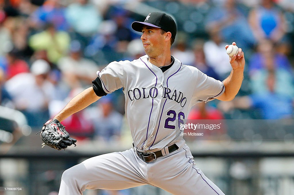 Jeff Francis of the Colorado Rockies in action against the New York Mets at Citi Field on August 8 2013 in the Flushing neighborhood of the Queens...