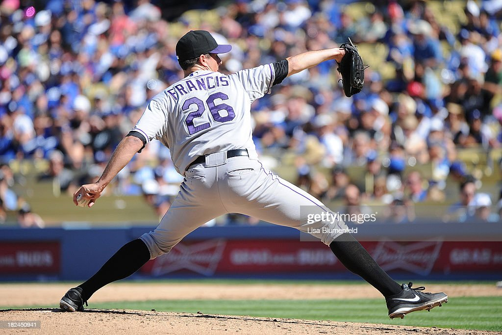 <a gi-track='captionPersonalityLinkClicked' href=/galleries/search?phrase=Jeff+Francis&family=editorial&specificpeople=220827 ng-click='$event.stopPropagation()'>Jeff Francis</a> #26 of the Colorado Rockies pitches against the Los Angeles Dodgers at Dodger Stadium on September 29, 2013 in Los Angeles, California.