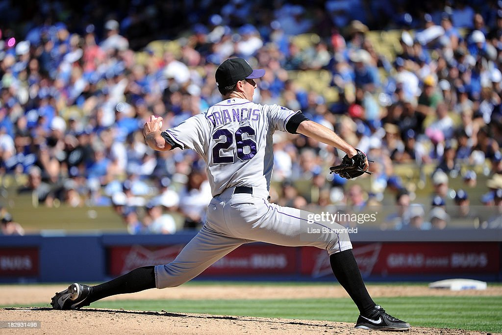 Jeff Francis of the Colorado Rockies pitches against the Los Angeles Dodgers at Dodger Stadium on September 29 2013 in Los Angeles California