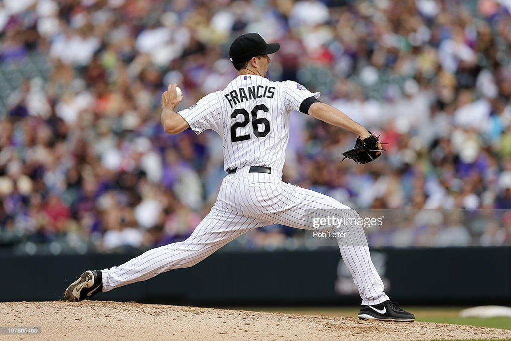 Jeff Francis of the Colorado Rockies pitches during the game against the Arizona Diamondbacks at Coors Field on September 22 2013 in Denver Colorado...