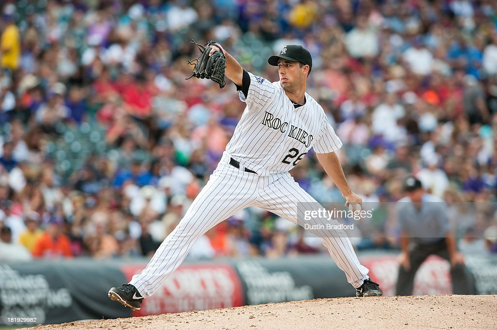 Jeff Francis of the Colorado Rockies pitches in relief against the Arizona Diamondbacks during a game at Coors Field on September 22 2013 in Denver...