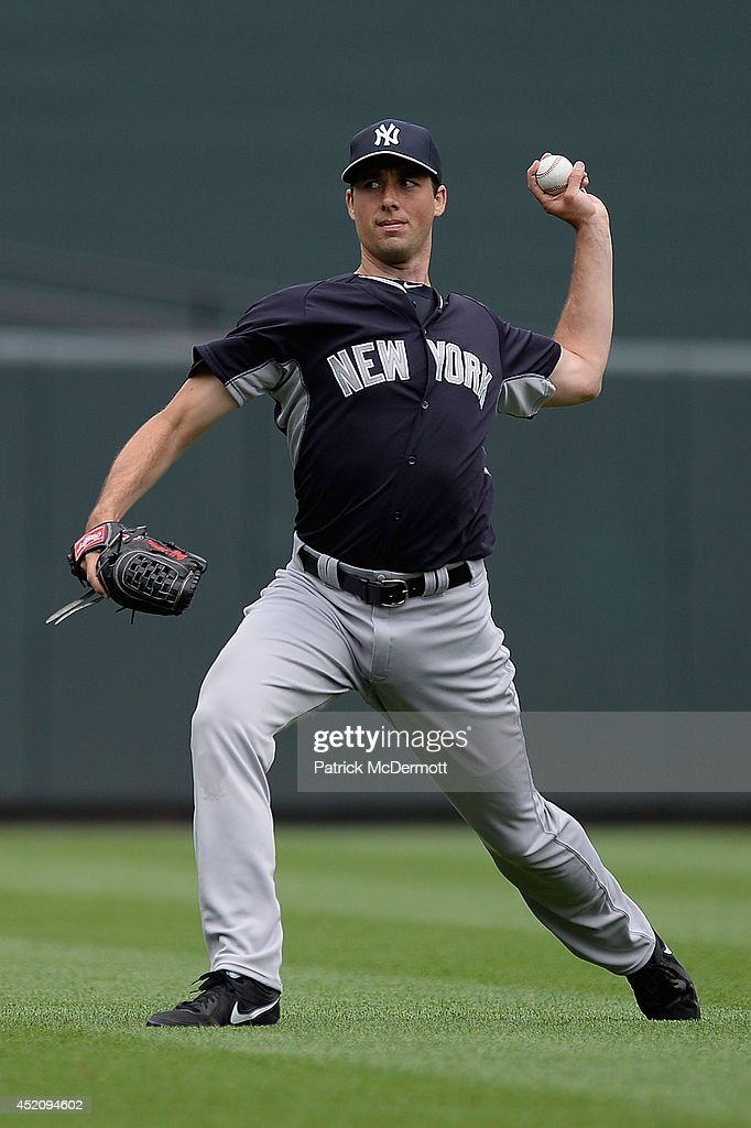 Jeff Francis of the New York Yankees throws in the outfield before a game between the Baltimore Orioles and New York Yankees at Oriole Park at Camden...