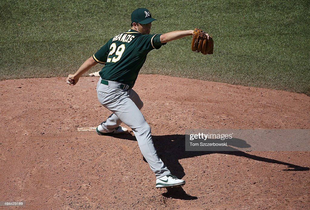Jeff Francis of the Oakland Athletics delivers a pitch in the eighth inning during MLB game action against the Toronto Blue Jays on May 24 2014 at...