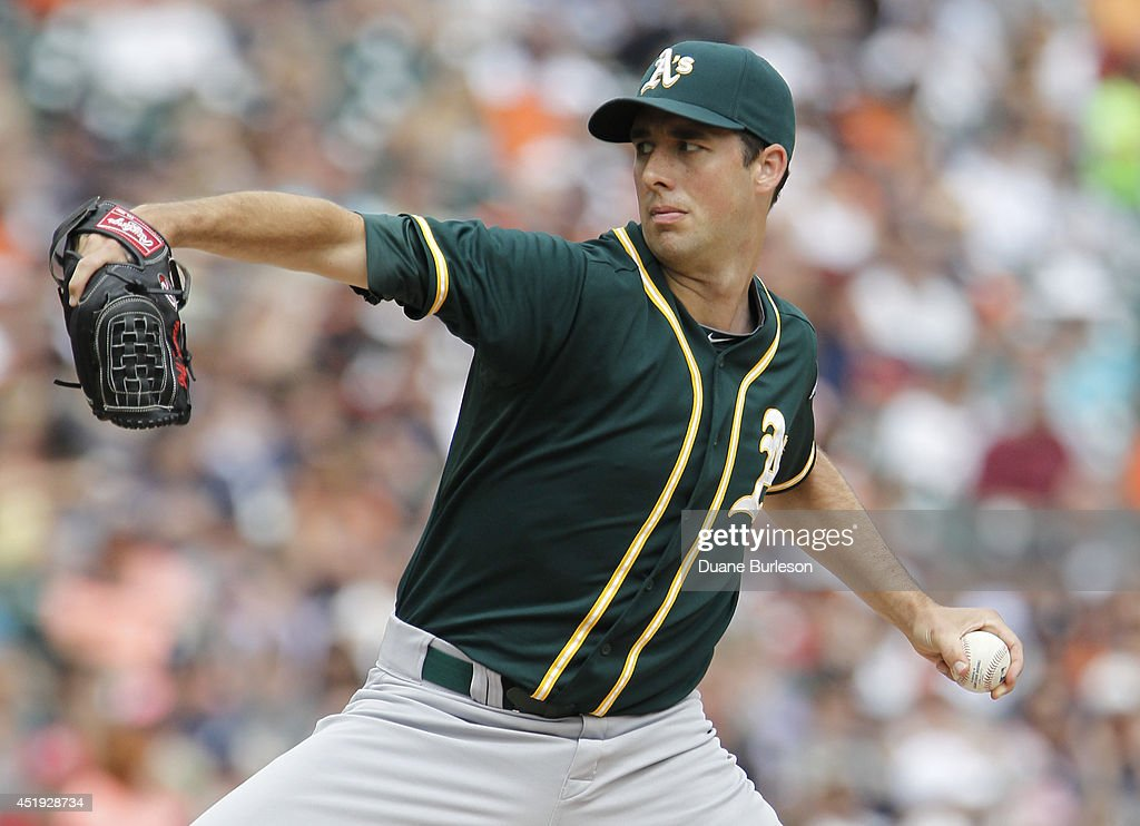 Jeff Francis of the Oakland Athletics pitches against the Detroit Tigers at Comerica Park on July 2 2014 in Detroit Michigan