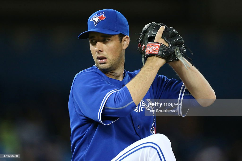 Jeff Francis of the Toronto Blue Jays delivers a pitch during MLB game action against the Atlanta Braves on April 19 2015 at Rogers Centre in Toronto...
