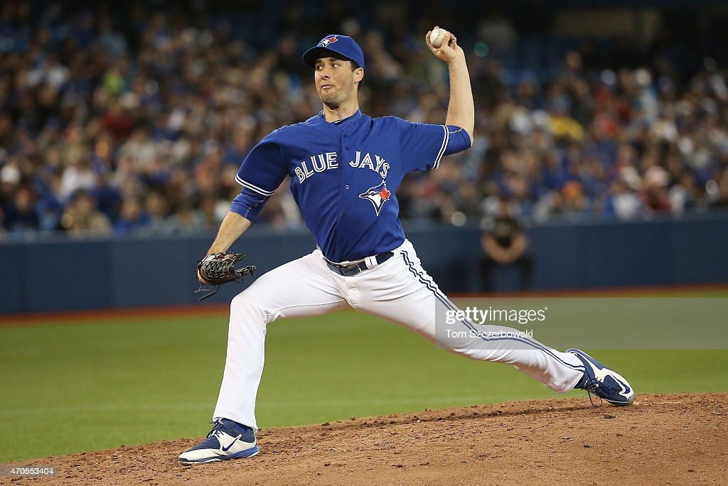 Jeff Francis of the Toronto Blue Jays delivers a pitch in the fifth inning during MLB game action against the Atlanta Braves on April 19 2015 at...
