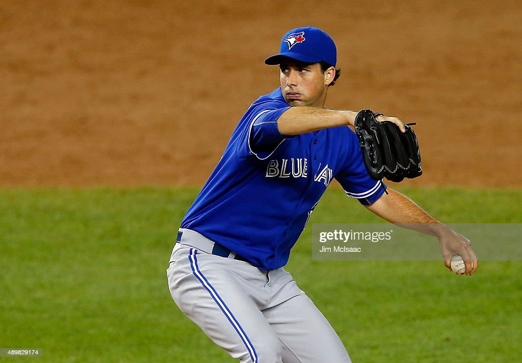 Jeff Francis of the Toronto Blue Jays in action against the New York Yankees at Yankee Stadium on September 12 2015 in the Bronx borough of New York...