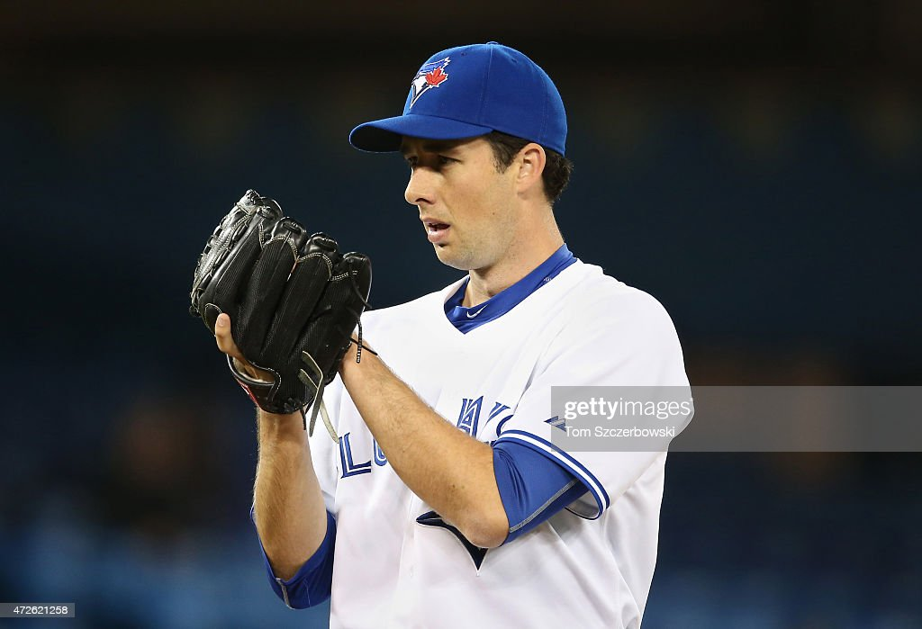 Jeff Francis of the Toronto Blue Jays looks in before delivering a pitch during MLB game action against the New York Yankees on May 5 2015 at Rogers...