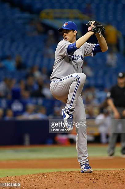 Jeff Francis of the Toronto Blue Jays pitches during the seventh inning of a game against the Tampa Bay Rays on April 24 2015 at Tropicana Field in...