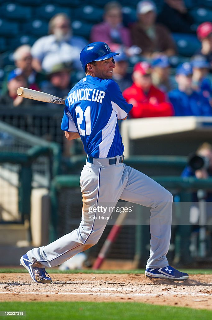 <a gi-track='captionPersonalityLinkClicked' href=/galleries/search?phrase=Jeff+Francoeur&family=editorial&specificpeople=217574 ng-click='$event.stopPropagation()'>Jeff Francoeur</a> #21 of the Kansas City Royals bats during a spring training game against the Texas Rangers at Surprise Stadium on February 24, 2013 in Surprise, Arizona.