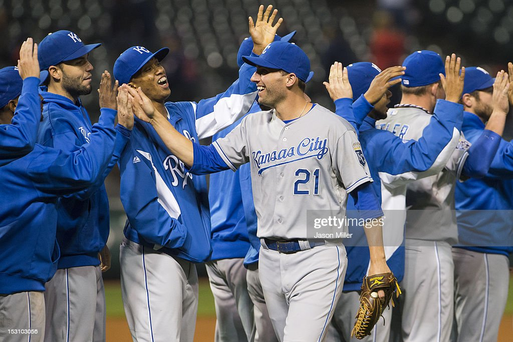 <a gi-track='captionPersonalityLinkClicked' href=/galleries/search?phrase=Jeff+Francoeur&family=editorial&specificpeople=217574 ng-click='$event.stopPropagation()'>Jeff Francoeur</a> #21 of the Kansas City Royals celebrates with teammates after the Royals defeated the Cleveland Indians at Progressive Field on September 29, 2012 in Cleveland, Ohio. The Royals defeated the Indians 7-6 in 14 innings.
