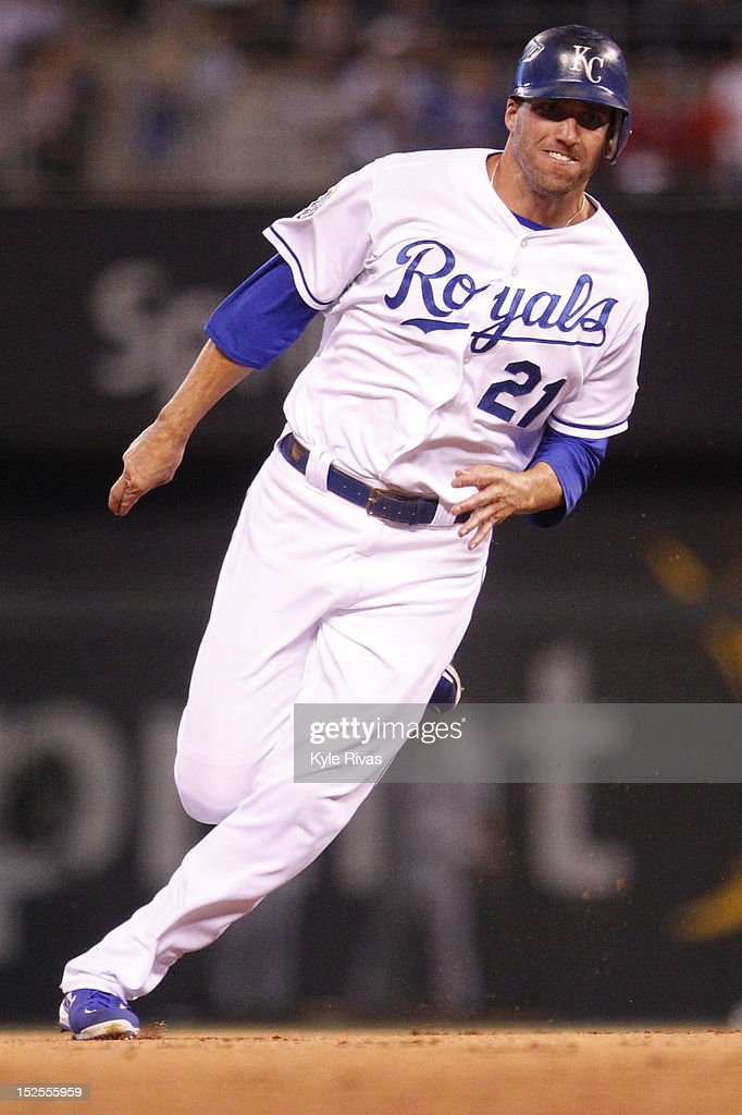 <a gi-track='captionPersonalityLinkClicked' href=/galleries/search?phrase=Jeff+Francoeur&family=editorial&specificpeople=217574 ng-click='$event.stopPropagation()'>Jeff Francoeur</a> #21 of the Kansas City Royals heads to third against Cleveland Indians in the eighth inning on Friday, September 21, 2012 at Kauffman Stadium in Kansas City, Missouri.