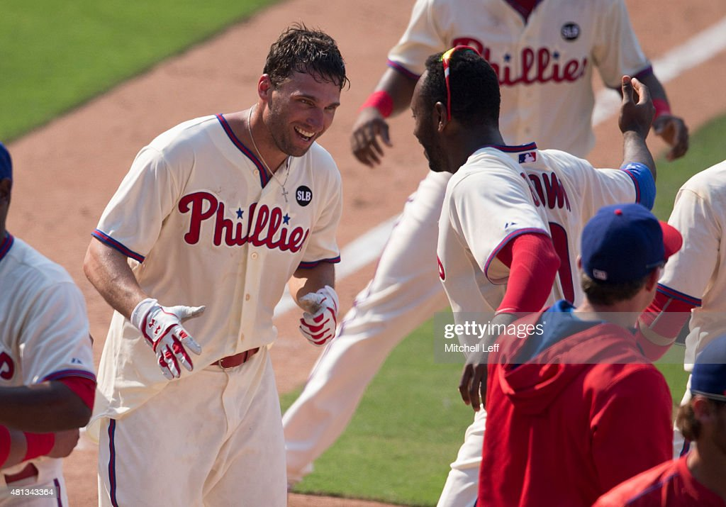 <a gi-track='captionPersonalityLinkClicked' href=/galleries/search?phrase=Jeff+Francoeur&family=editorial&specificpeople=217574 ng-click='$event.stopPropagation()'>Jeff Francoeur</a> #3 of the Philadelphia Phillies and <a gi-track='captionPersonalityLinkClicked' href=/galleries/search?phrase=Domonic+Brown&family=editorial&specificpeople=6900643 ng-click='$event.stopPropagation()'>Domonic Brown</a> #9 react after Francoeur hit a two run walk-off home run against the Miami Marlins on July 19, 2015 at the Citizens Bank Park in Philadelphia, Pennsylvania. The Phillies defeated the Marlins 8-7.