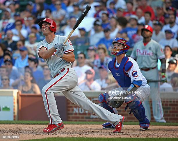 Jeff Francoeur of the Philadelphia Phillies hits a tworun home run in the 10th inning against the Chicago Cubs at Wrigley Field on July 24 2015 in...