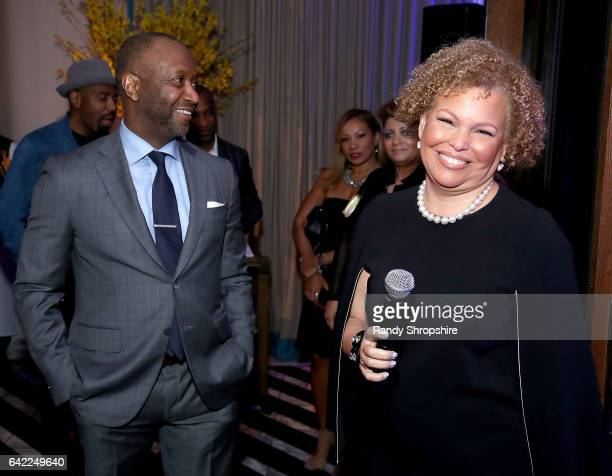 Jeff Friday and Debra L Lee attend Pre ABFF Honors Cocktail Party hosted by Debra L Lee Jeff Friday at Cecconi's on February 16 2017 in West...