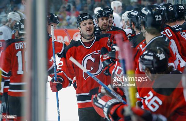 Jeff Friesen of the New Jersey Devils celebrates his goal against the Ottawa Senators in game two of the 2003 Eastern Conference Stanley Cup Finals...
