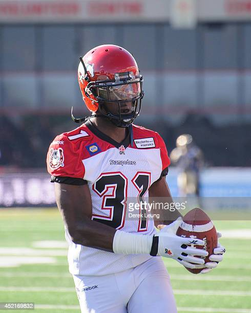 Jeff Fuller of the Calgary Stampeders in action against the Winnipeg Blue Bombers during a CFL game at McMahon Stadium on June 14 2014 in Calgary...