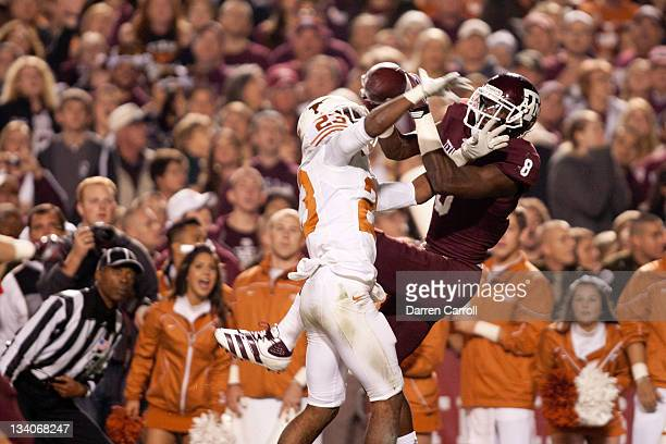 Jeff Fuller of the Texas AM Aggies attempts to catch a pass against Carrington Byndom of the Texas Longhorns in the first half of a game at Kyle...