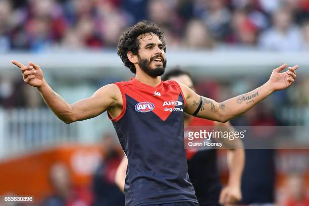 Jeff Garlett of the Demons celebrates kicking a goal during the round two AFL match between the Melbourne Demons and the Carlton Blues at Melbourne...
