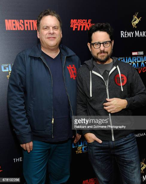Jeff Garlin and JJ Abrams attend a screening of Marvel Studios' 'Guardians Of The Galaxy Vol 2' hosted by The Cinema Society at the Whitby Hotel on...