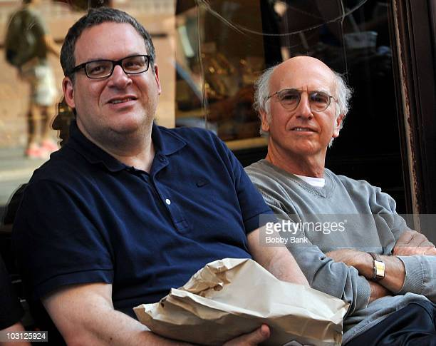 Jeff Garlin and Larry David on location for 'Curb Your Enthusiasm' on the streets of Manhattan on July 27 2010 in New York City