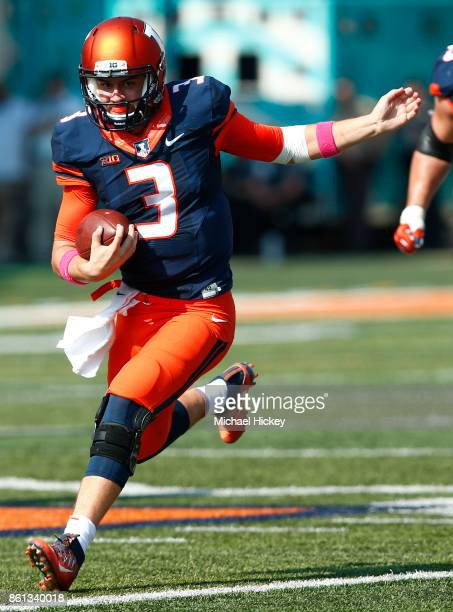 Jeff George Jr #3 of the Illinois Fighting Illini runs the ball during the game against the Rutgers Scarlet Knights at Memorial Stadium on October 14...