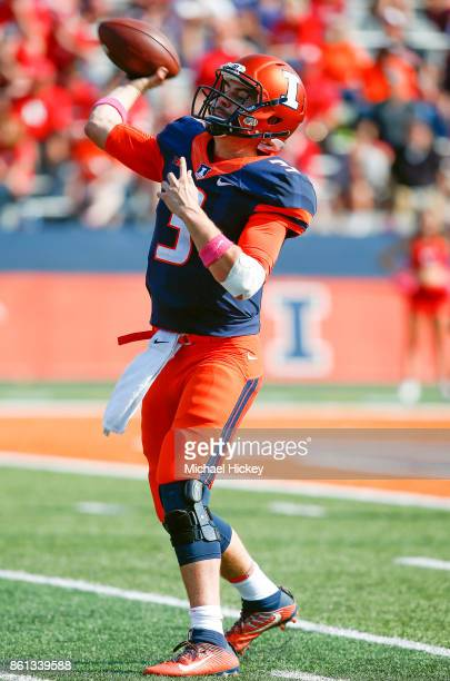 Jeff George Jr #3 of the Illinois Fighting Illini throws a touchdown pass during the game against the Rutgers Scarlet Knights at Memorial Stadium on...