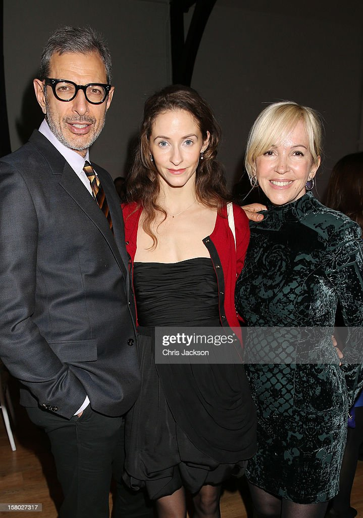 Jeff Goldblum, Emilie Livingston and Sally Greene attend the VIP backstage dinner ahead of this year's Old Vic 24 Hour Musicals Celebrity Gala at The Old Vic Theatre on December 9, 2012 in London, England.