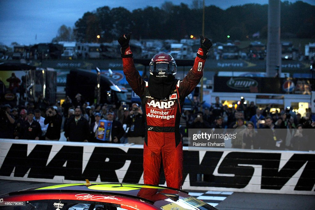 <a gi-track='captionPersonalityLinkClicked' href=/galleries/search?phrase=Jeff+Gordon&family=editorial&specificpeople=171491 ng-click='$event.stopPropagation()'>Jeff Gordon</a>, driver of the #24 AARP Member Advantages Chevrolet, celebrates after winning the NASCAR Sprint Cup Series Goody's Headache Relief Shot 500 at Martinsville Speedway on November 1, 2015 in Martinsville, Virginia.