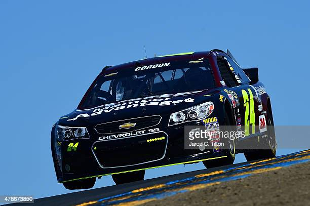 Jeff Gordon driver of the AARP Member Advantages Chevrolet practices for the NASCAR Sprint Cup Series Toyota/Save Mart 350 at Sonoma Raceway on June...