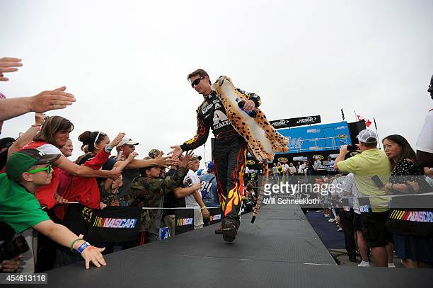Jeff Gordon driver of the Axalta Chevrolet greets fans during the NASCAR Sprint Cup Series Pure Michigan 400 at Michigan International Speedway on...