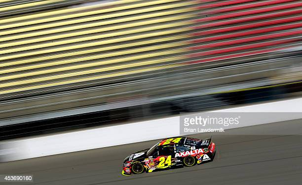 Jeff Gordon driver of the Axalta Chevrolet practices for the NASCAR Sprint Cup Series Pure Michigan 400 at Michigan International Speedway on August...