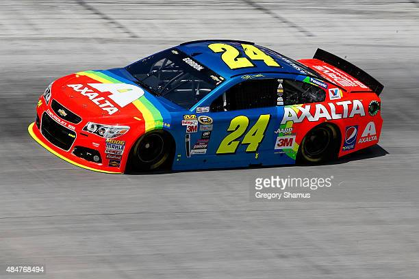 Jeff Gordon driver of the Axalta Chevrolet practices for the NASCAR Sprint Cup Series Irwin Tools Night Race at Bristol Motor Speedway on August 21...