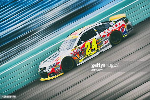 Jeff Gordon driver of the AXALTA Chevrolet practices for the NASCAR Sprint Cup Series Ford EcoBoost 400 at HomesteadMiami Speedway on November 21...
