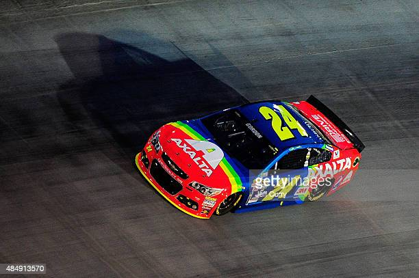 Jeff Gordon driver of the Axalta Chevrolet races during the NASCAR Sprint Cup Series IRWIN Tools Night Race at Bristol Motor Speedway on August 22...