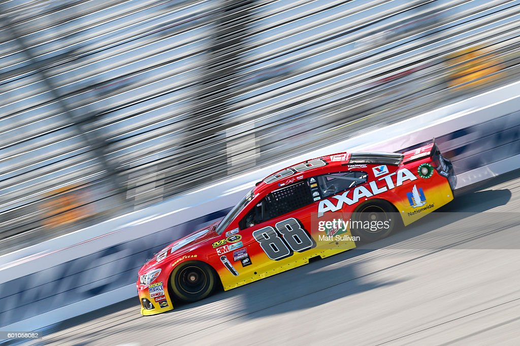 Jeff Gordon, driver of the #88 Axalta Chevrolet,practices for the NASCAR Sprint Cup Series Federated Auto Parts 400 at Richmond International Raceway on September 9, 2016 in Richmond, Virginia.