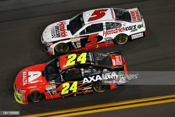 Jeff Gordon driver of the Axalta Coating Systems Chevrolet and Kasey Kahne driver of the Hendrickcarscom Chevrolet during the NASCAR Sprint Cup...