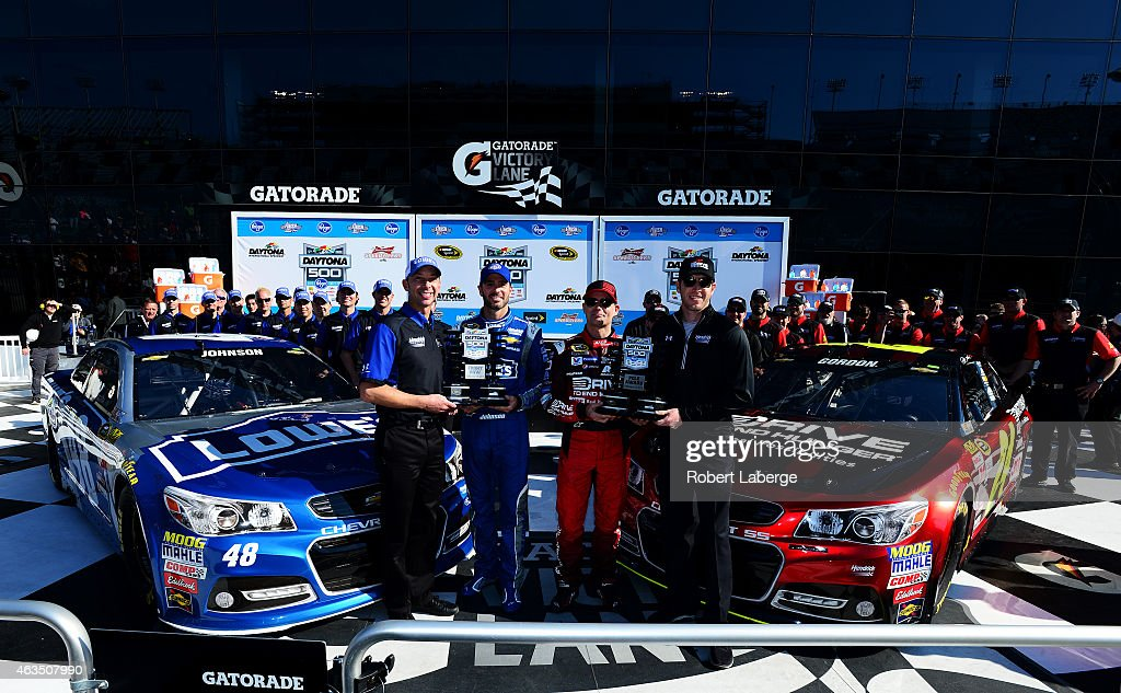 <a gi-track='captionPersonalityLinkClicked' href=/galleries/search?phrase=Jeff+Gordon&family=editorial&specificpeople=171491 ng-click='$event.stopPropagation()'>Jeff Gordon</a>, driver of the #24 Drive To End Hunger Chevrolet, his crew chief, <a gi-track='captionPersonalityLinkClicked' href=/galleries/search?phrase=Alan+Gustafson&family=editorial&specificpeople=3626738 ng-click='$event.stopPropagation()'>Alan Gustafson</a>, <a gi-track='captionPersonalityLinkClicked' href=/galleries/search?phrase=Jimmie+Johnson+-+Nascar+Race+Driver&family=editorial&specificpeople=171519 ng-click='$event.stopPropagation()'>Jimmie Johnson</a>, driver of the #48 Lowe's Chevrolet, and his crew chief, <a gi-track='captionPersonalityLinkClicked' href=/galleries/search?phrase=Chad+Knaus&family=editorial&specificpeople=564401 ng-click='$event.stopPropagation()'>Chad Knaus</a>, pose with the Daytona 500 Pole Award and Front Row Award after qualifying for the pole position and front row for the 57th Annual Daytona 500 at Daytona International Speedway on February 15, 2015 in Daytona Beach, Florida.