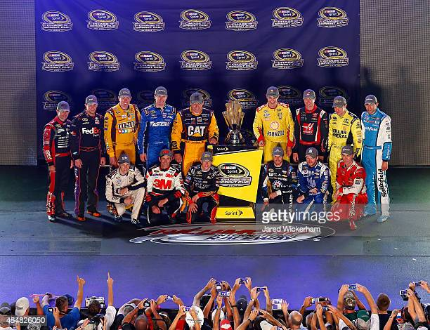 Jeff Gordon driver of the Drive to End Hunger Chevrolet Kyle Busch driver of the MM's Toyota Carl Edwards driver of the Kelloggs/Frosted Flakes Ford...