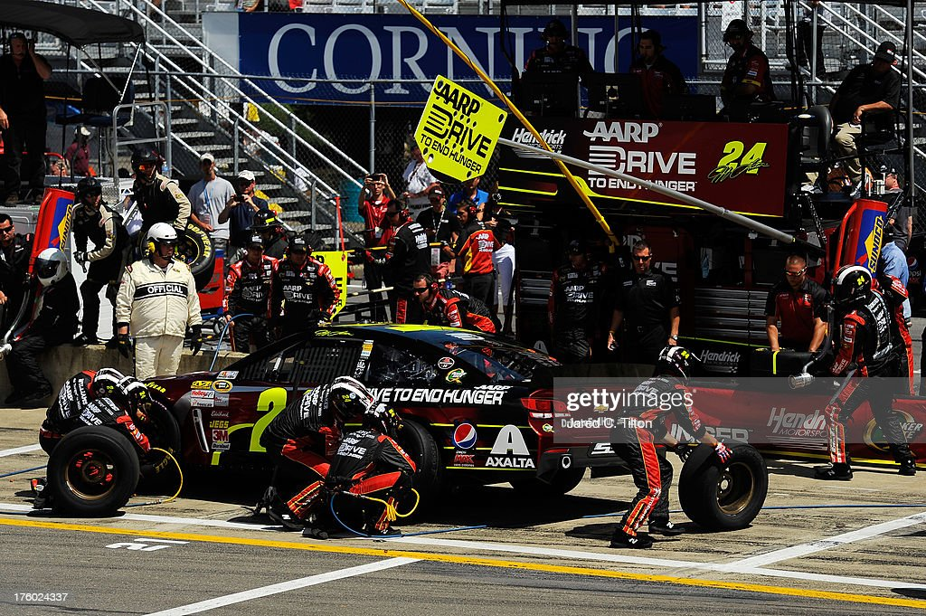 Jeff Gordon driver of the Drive to End Hunger Chevrolet pits during the NASCAR Sprint Cup Series CheezIt 355 at The Glen at Watkins Glen...