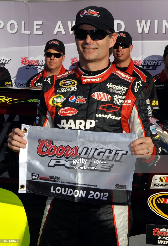 <a gi-track='captionPersonalityLinkClicked' href=/galleries/search?phrase=Jeff+Gordon&family=editorial&specificpeople=171491 ng-click='$event.stopPropagation()'>Jeff Gordon</a>, driver of the #24 Drive to End Hunger Chevrolet, poses in Victory Lane after qualifying for the pole position in the NASCAR Sprint Cup Series Sylvania 300 at New Hampshire Motor Speedway on September 21, 2012 in Loudon, New Hampshire.