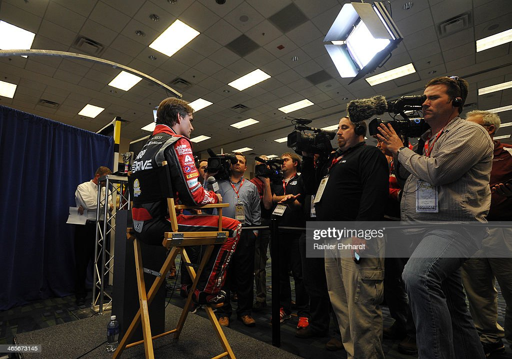 Jeff Gordon, driver of the #24 Drive to End Hunger Chevrolet, speaks to the media during the NASCAR Sprint Media Tour at Charlotte Convention Center on January 28, 2014 in Charlotte, North Carolina.